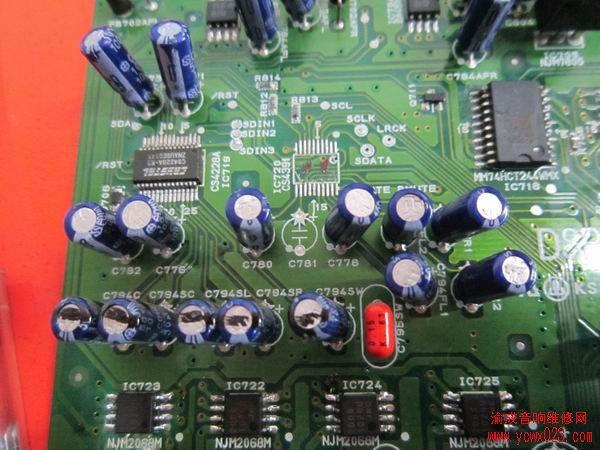 马兰士sr5200功放维修:左右主声道无声音
